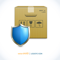 Logistic shipping realistic cardboard box and shield icon isolated on white background vector illustration 60016006116| 写真素材・ストックフォト・画像・イラスト素材|アマナイメージズ