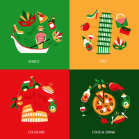 Italy venice coliseum food and drink decorative elements set isolated vector illustration 60016006190| 写真素材・ストックフォト・画像・イラスト素材|アマナイメージズ