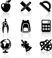 Black school education icons set of drawing compasses backpack calculator isolated vector illustration 60016006368| 写真素材・ストックフォト・画像・イラスト素材|アマナイメージズ