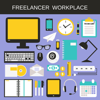 Freelancer workplace icons set with computer notebook calculator smartphone isolated vector illustration 60016006394| 写真素材・ストックフォト・画像・イラスト素材|アマナイメージズ