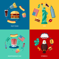 Business concept flat icons set of USA landmarks and fast food independence day symbols infographic design elements vector illus 60016006523| 写真素材・ストックフォト・画像・イラスト素材|アマナイメージズ