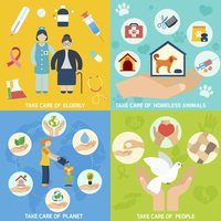 Charity social help services and volunteer work icons set flat isolated vector illustration 60016006664| 写真素材・ストックフォト・画像・イラスト素材|アマナイメージズ