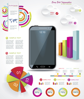Modern Infographic with a touch screen smartphone in the middle.  60016007047| 写真素材・ストックフォト・画像・イラスト素材|アマナイメージズ