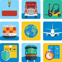 Logistic shipping delivery service realistic icons set isolated vector illustration 60016007145| 写真素材・ストックフォト・画像・イラスト素材|アマナイメージズ