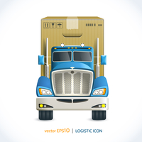 Logistic shipping realistic heavy truck with carton box  isolated on white vector illustration 60016007146| 写真素材・ストックフォト・画像・イラスト素材|アマナイメージズ