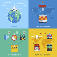 Logistic network airmail maritime shipping on-time delivery flat icons set isolated vector illustration 60016007173| 写真素材・ストックフォト・画像・イラスト素材|アマナイメージズ