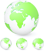 Vector illustration set of green globes showing our planet revolving in different stages 60016007962| 写真素材・ストックフォト・画像・イラスト素材|アマナイメージズ
