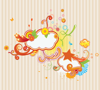 Vector illustration of retro styled design background made of floral and ornamental elements. 60016008133| 写真素材・ストックフォト・画像・イラスト素材|アマナイメージズ
