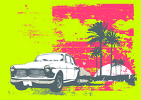 Vector illustration of vintage car on the beach with palms and sunset 60016008166| 写真素材・ストックフォト・画像・イラスト素材|アマナイメージズ