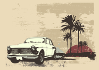 Vector illustration of vintage car on the beach with palms and sunset 60016008167| 写真素材・ストックフォト・画像・イラスト素材|アマナイメージズ