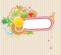 Vector illustration of funky styled design frame made of floral and fruity elements 60016008232| 写真素材・ストックフォト・画像・イラスト素材|アマナイメージズ
