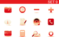 Vector illustration set of red elegant simple icons for common computer and media devices functions. Set-9 60016008267| 写真素材・ストックフォト・画像・イラスト素材|アマナイメージズ
