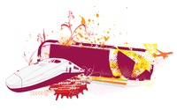 Vector illustration of grunge style urban background with train and airplane 60016008274| 写真素材・ストックフォト・画像・イラスト素材|アマナイメージズ