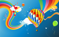 Vector illustration of Colorful abstract Background with funky hot air balloon - great for greeting and birthday postcards, flye 60016009106| 写真素材・ストックフォト・画像・イラスト素材|アマナイメージズ