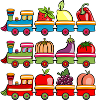 Vector illustration of funny cartoon train, moving  the fruits and vegetables 60016009275| 写真素材・ストックフォト・画像・イラスト素材|アマナイメージズ