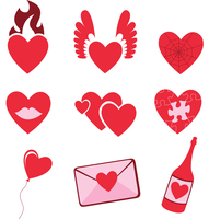 Vector illustration of Love icons.  Ideal for Valetine Cards decoration 60016009307| 写真素材・ストックフォト・画像・イラスト素材|アマナイメージズ