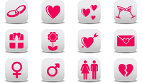 Vector illustration of Love icons.  Ideal for Valetine Cards decoration 60016009312| 写真素材・ストックフォト・画像・イラスト素材|アマナイメージズ