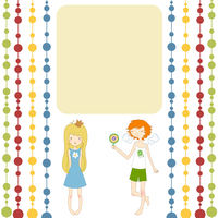 Vector Illustration of retro design greeting card with little girl and boy and copy space for your text 60016009400| 写真素材・ストックフォト・画像・イラスト素材|アマナイメージズ