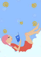 Vector Illustration of the little girl lying on the cloud and reading a book. 60016009419| 写真素材・ストックフォト・画像・イラスト素材|アマナイメージズ