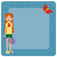 Vector Illustration of cool invitation frame with funky Young girl, playing badminton 60016009440| 写真素材・ストックフォト・画像・イラスト素材|アマナイメージズ