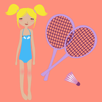 Vector Illustration of funny summer background  with the little girl and badminton rackets 60016009454| 写真素材・ストックフォト・画像・イラスト素材|アマナイメージズ