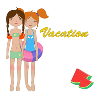 Vector Illustration of funny Kiddie style design summer background with the two little girls 60016009466| 写真素材・ストックフォト・画像・イラスト素材|アマナイメージズ