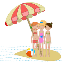 Vector Illustration of cool Kiddie style design summer background with three funny girls 60016009472| 写真素材・ストックフォト・画像・イラスト素材|アマナイメージズ