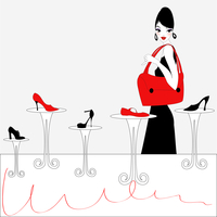Vector Illustration of funky beautiful sexy girl shopping for a new pair of shoes 60016009515| 写真素材・ストックフォト・画像・イラスト素材|アマナイメージズ
