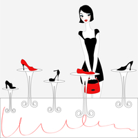 Vector Illustration of funky beautiful sexy girl shopping for a new pair of shoes 60016009516| 写真素材・ストックフォト・画像・イラスト素材|アマナイメージズ