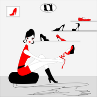 Vector Illustration of funky beautiful sexy girl shopping for a new pair of shoes 60016009517| 写真素材・ストックフォト・画像・イラスト素材|アマナイメージズ