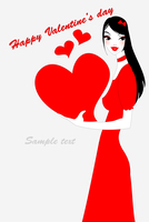 Vector illustration of funky valentine's day gteeeting card with beautiful sexy girl holding big red heart 60016009529| 写真素材・ストックフォト・画像・イラスト素材|アマナイメージズ