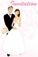 Vector illustration of funky wedding invitation with cool sexy bride and groom 60016009541| 写真素材・ストックフォト・画像・イラスト素材|アマナイメージズ