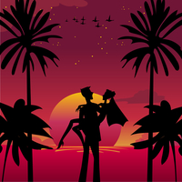 Vector illustration of  bride and bridegroom in  romantic tropical night on the sky background with Giant beautiful full moon 60016009552| 写真素材・ストックフォト・画像・イラスト素材|アマナイメージズ