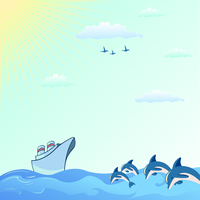 Vector illustration of Colorful useful background with dolphins and  Blue Boat 60016009629| 写真素材・ストックフォト・画像・イラスト素材|アマナイメージズ