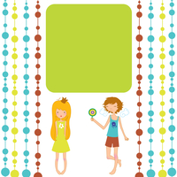 Vector Illustration of retro design greeting card with little girl and boy and copy space for your text 60016012131| 写真素材・ストックフォト・画像・イラスト素材|アマナイメージズ