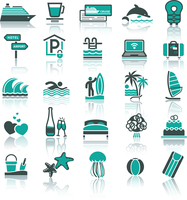Set icons. Vacation, Recreation & Travel. Sports, Tourism. With reflection 60016013178| 写真素材・ストックフォト・画像・イラスト素材|アマナイメージズ