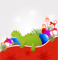 Christmas vector  background with decorations and toy dragon 60016015540| 写真素材・ストックフォト・画像・イラスト素材|アマナイメージズ
