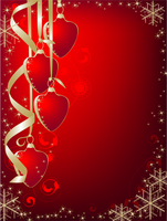 Christmas background with red heart, ribbons, snowflakes and ornaments on a red background 60016015779| 写真素材・ストックフォト・画像・イラスト素材|アマナイメージズ