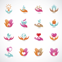 Vector set with signs of love and care - collection with abstract icons 60016017299| 写真素材・ストックフォト・画像・イラスト素材|アマナイメージズ