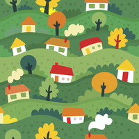 seamless pattern with village and houses - vector illustration 60016017380| 写真素材・ストックフォト・画像・イラスト素材|アマナイメージズ