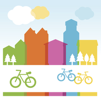 Vector design cocnept with modern buildings and bicycles 60016017459| 写真素材・ストックフォト・画像・イラスト素材|アマナイメージズ