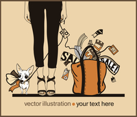 vector illustration of an urban girl with a doggy and a yellow bag with purchase 60016018365| 写真素材・ストックフォト・画像・イラスト素材|アマナイメージズ