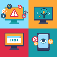 Vector flat icons and illustrations - internet security and virus warning - computer attack and virus infection 60016021217| 写真素材・ストックフォト・画像・イラスト素材|アマナイメージズ