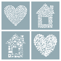 House and heart. Collection of houses and hearts. A vector illustration 60016022740| 写真素材・ストックフォト・画像・イラスト素材|アマナイメージズ