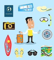 Vacation or business traveler character set with suitcase passport airplane tickets vector illustration 60016027960| 写真素材・ストックフォト・画像・イラスト素材|アマナイメージズ