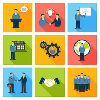 Collection of flat business people meeting at office conference presentation pictograms vector illustration 60016028079| 写真素材・ストックフォト・画像・イラスト素材|アマナイメージズ