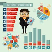 Businessman hipster boy insurance company agent infographic presentation design elements with icons charts and graphs vector ill 60016028332| 写真素材・ストックフォト・画像・イラスト素材|アマナイメージズ