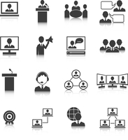 Business people meeting online and offline strategic concepts icons set isolated vector illustration 60016028587| 写真素材・ストックフォト・画像・イラスト素材|アマナイメージズ