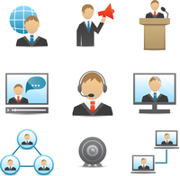 Business people meeting online and offline conference speech and presentation icons set isolated vector illustration 60016028588| 写真素材・ストックフォト・画像・イラスト素材|アマナイメージズ