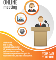 Business people meeting poster or print layout template vector illustration 60016028590| 写真素材・ストックフォト・画像・イラスト素材|アマナイメージズ